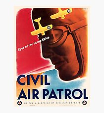Civil Air Patrol ~ Vintage World War 2 WWII Poster ~ Air Force Pilot ~ 0536 Photographic Print