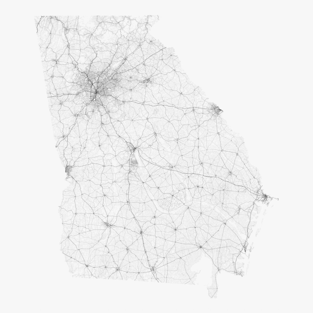 Roads of Georgia. (Black on white) by Graphical-Maps
