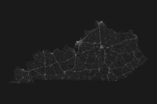 Roads of Kentucky. (White on black) by Graphical-Maps