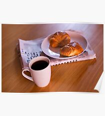 coffee and croissants Poster
