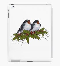 Christmas Holly with Singing Birds, Hand Drawn Art iPad Case/Skin
