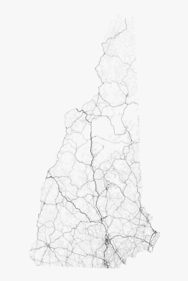Roads of New Hampshire. (Black on white) by Graphical-Maps