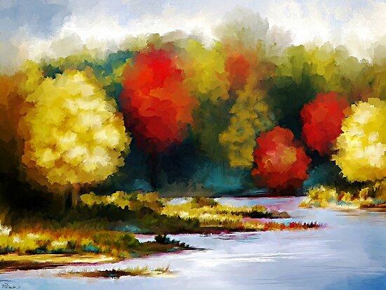 Autumn Landscape - Abstract Art by Renee Dawson