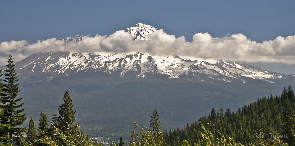 Shasta with Clouds by Bob Moore