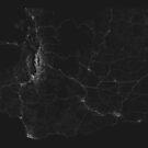 Roads of Washington. (White on black) von Graphical-Maps