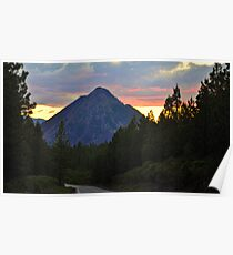 Black Butte Sunset, Shasta Trinity National Forest Poster
