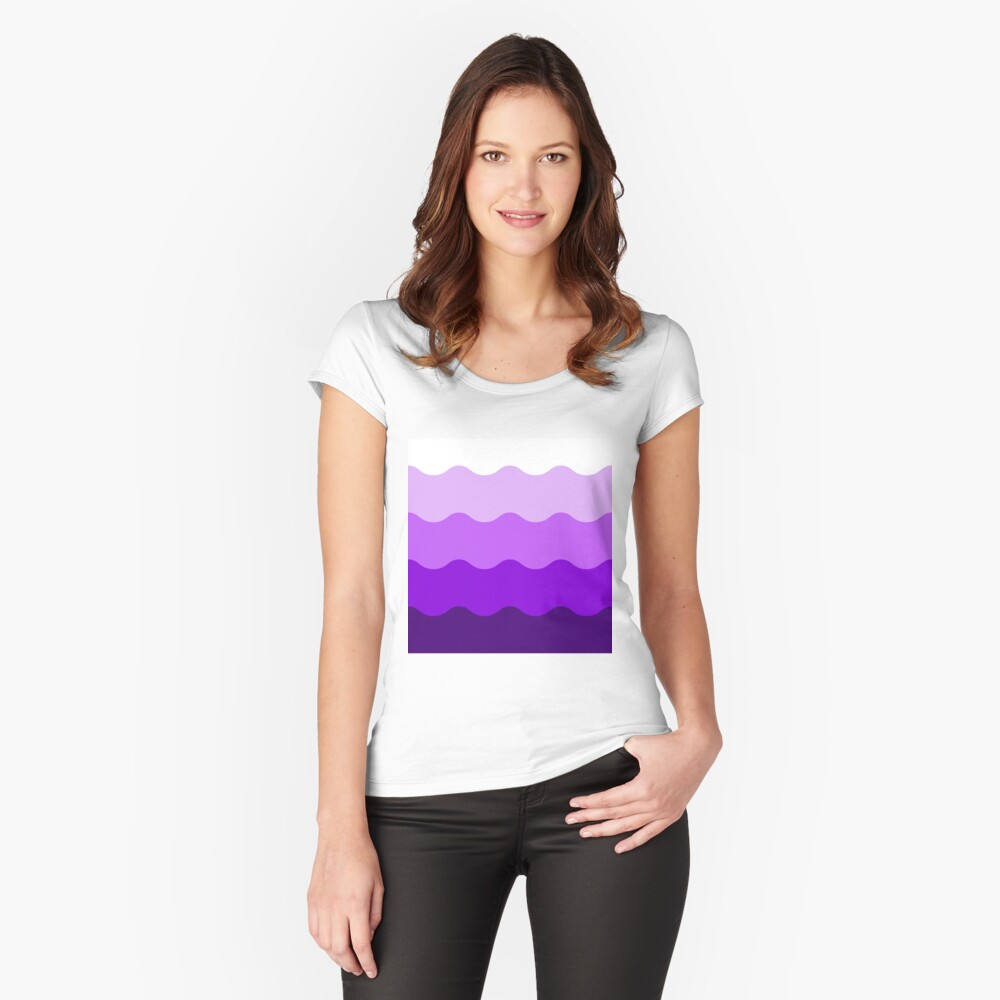 Lilac Thick Ombre Waves Women's Fitted Scoop T-Shirt Front