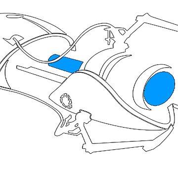 Blue Portal Gun Silhouette by Preyn