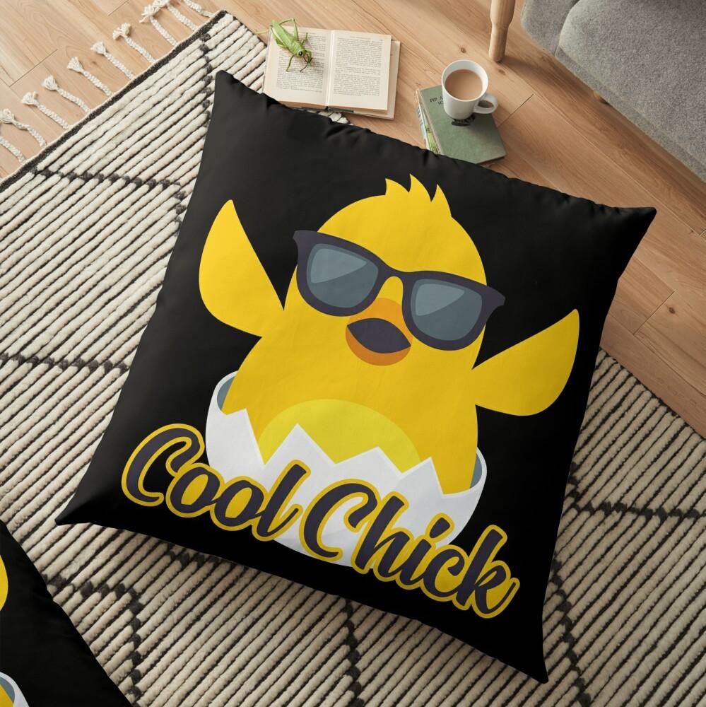 Cool Chick Emoji Meme Floor Pillow