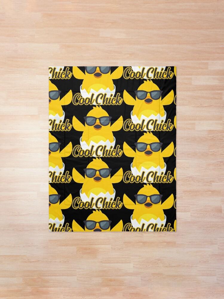 Alternate view of Cool Chick Emoji Meme Comforter