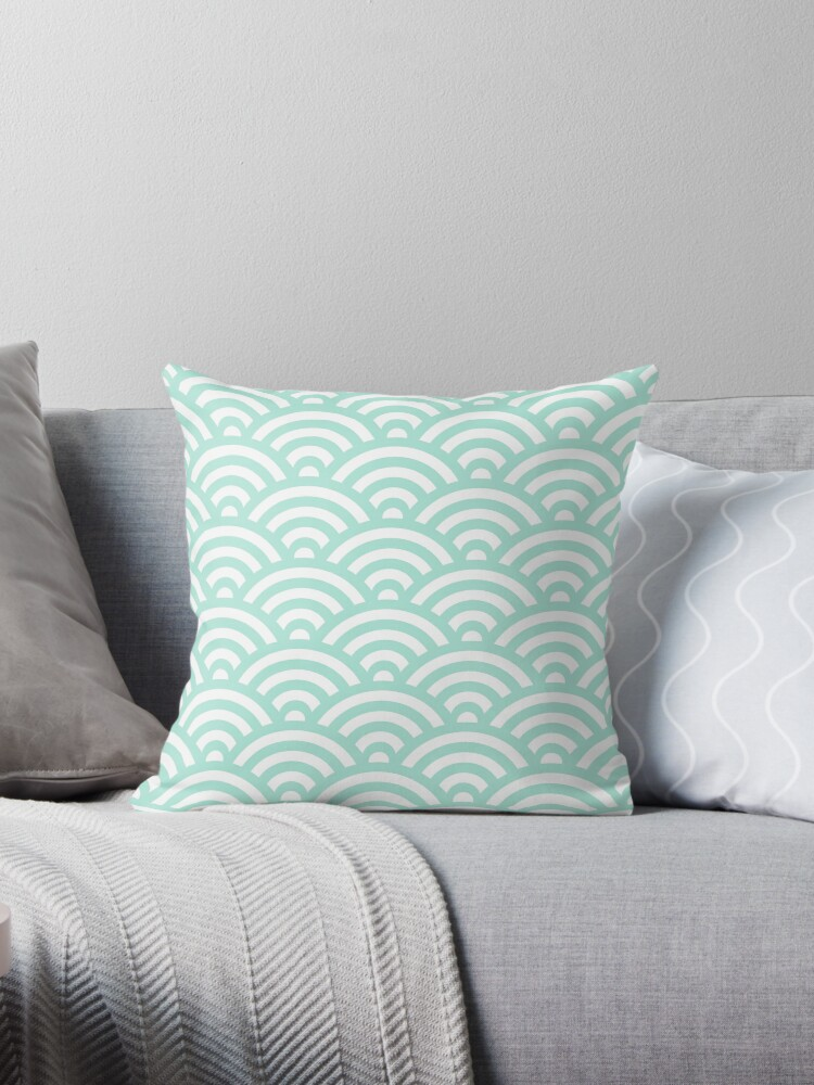 Mint Japanese Inspired Waves Shell Pattern by ImageNugget
