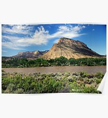 Lenticular clouds over mesa Poster