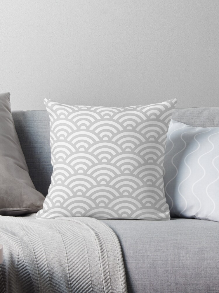LightGrey Japanese Inspired Waves Shell Pattern by ImageNugget