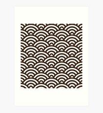 Chocolate Japanese Inspired Waves Shell Pattern Art Print