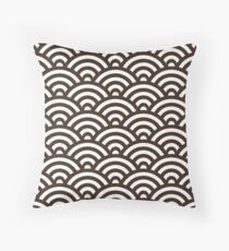 Chocolate Japanese Inspired Waves Shell Pattern Throw Pillow