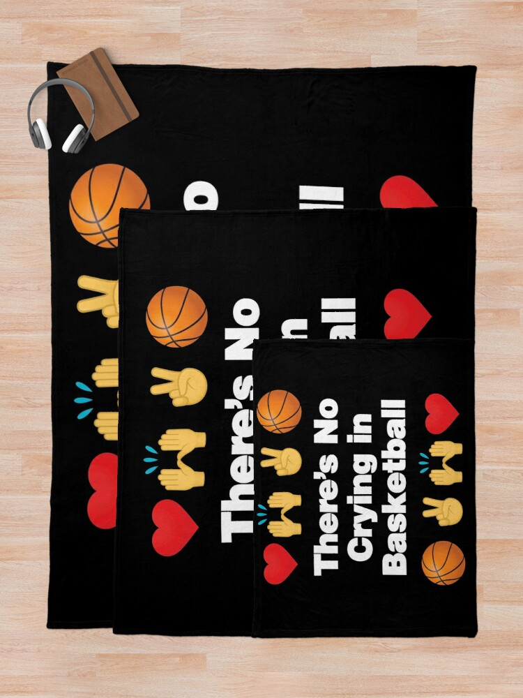 Alternate view of Theres No Crying in Basketball Emoji Basketball Saying Throw Blanket