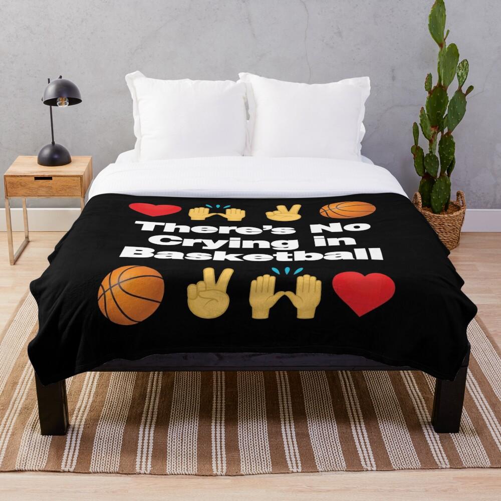 Theres No Crying in Basketball Emoji Basketball Saying Throw Blanket