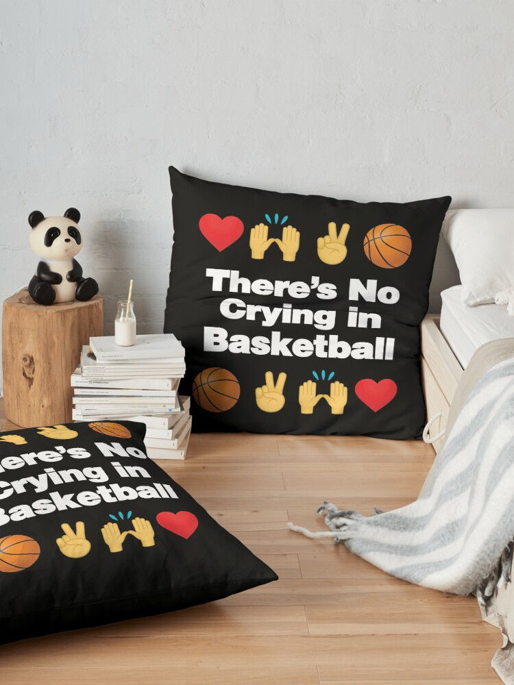 Alternate view of Theres No Crying in Basketball Emoji Basketball Saying Floor Pillow