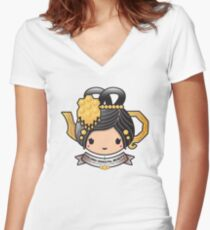 Oolong Oriental Beauty Teapot Women's Fitted V-Neck T-Shirt