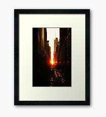 Manhattanhenge Sunset Midtown New York City Framed Print