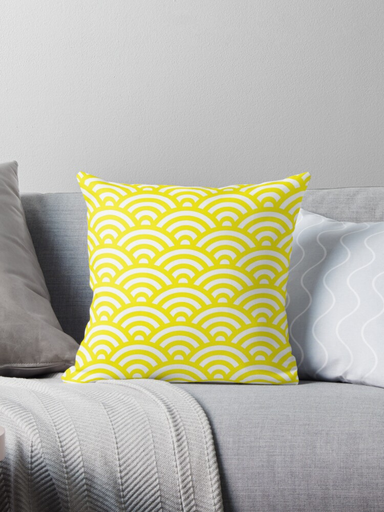 Yellow Japanese Inspired Waves Shell Pattern by ImageNugget