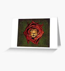 Der Löwe Rose Grußkarte