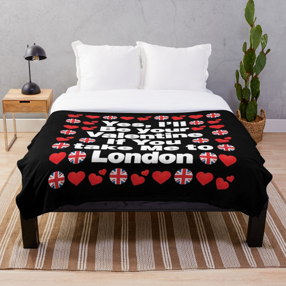 English Emoji UK Your Valentine if you Take Me to London Throw Blanket