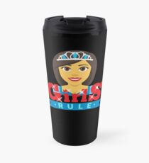 Queen Girls Rule Emoji Boss Babe Cartoon Travel Mug