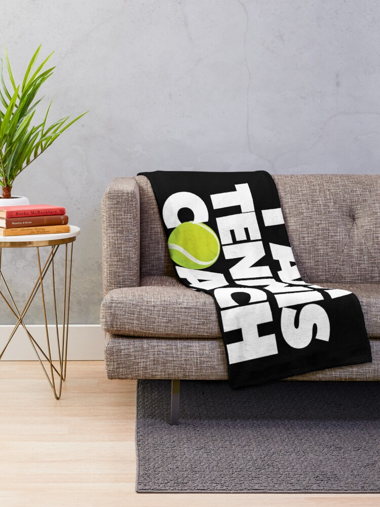 Alternate view of I am Tennis Coach Not a Target Emoji Sports Funny Saying Throw Blanket