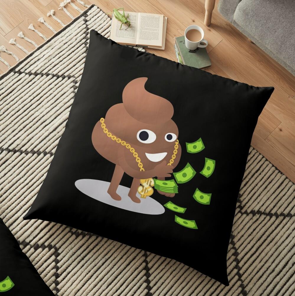 Cash Money Emoji Poo with Golden Dollar Chain Floor Pillow