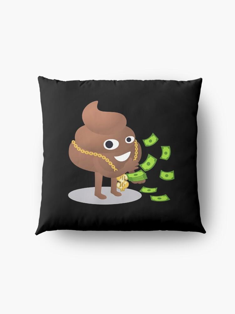 Alternate view of Cash Money Emoji Poo with Golden Dollar Chain Floor Pillow