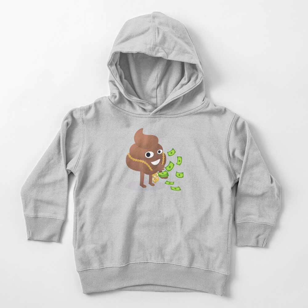 Cash Money Emoji Poo with Golden Dollar Chain Toddler Pullover Hoodie