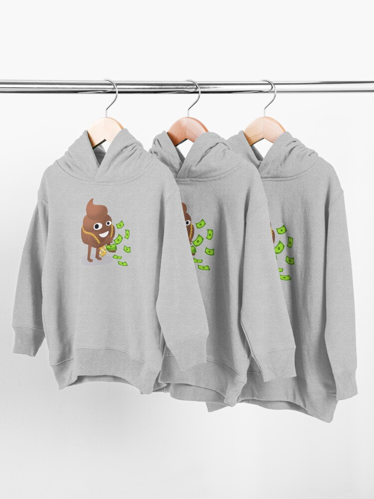Alternate view of Cash Money Emoji Poo with Golden Dollar Chain Toddler Pullover Hoodie