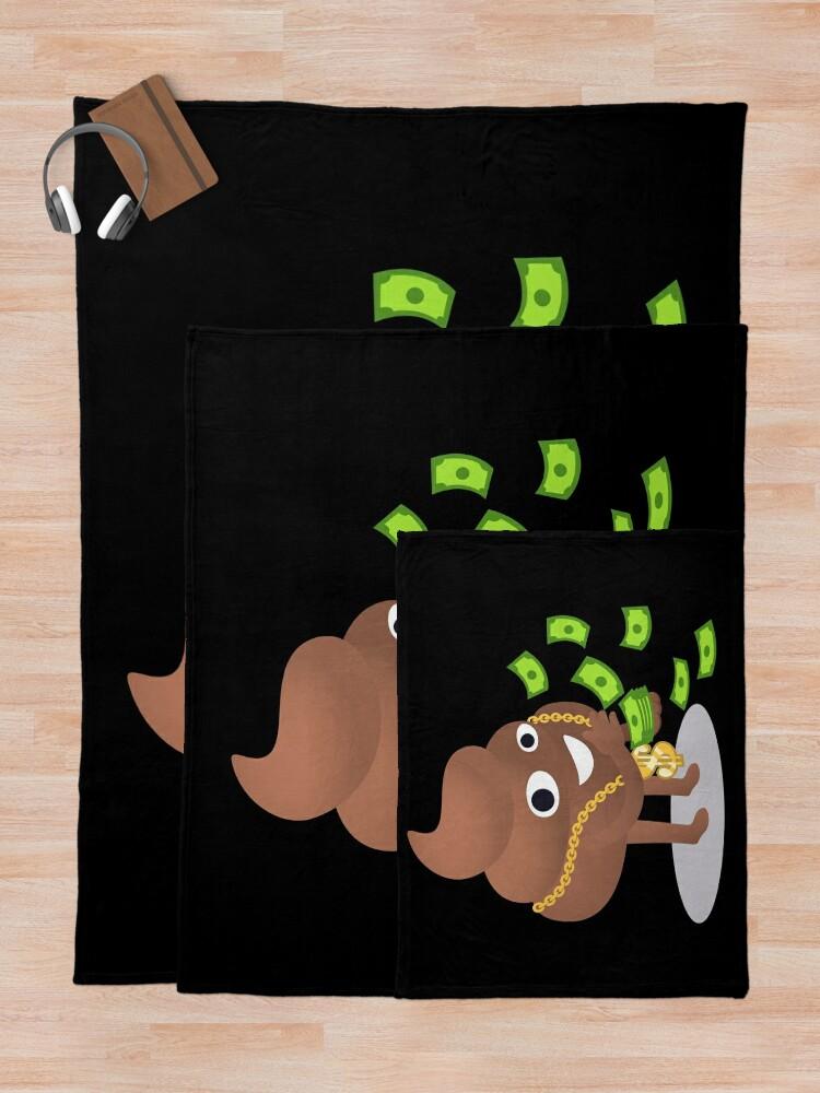 Alternate view of Cash Money Emoji Poo with Golden Dollar Chain Throw Blanket
