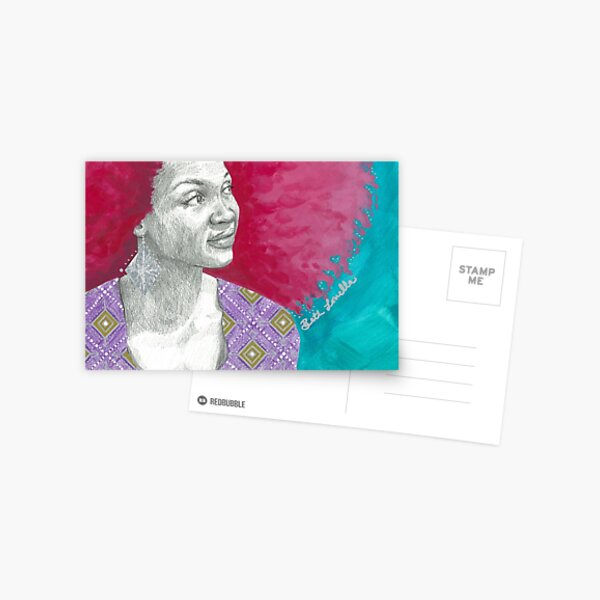 Afro Halo Pink and Turquoise (card) Postcard