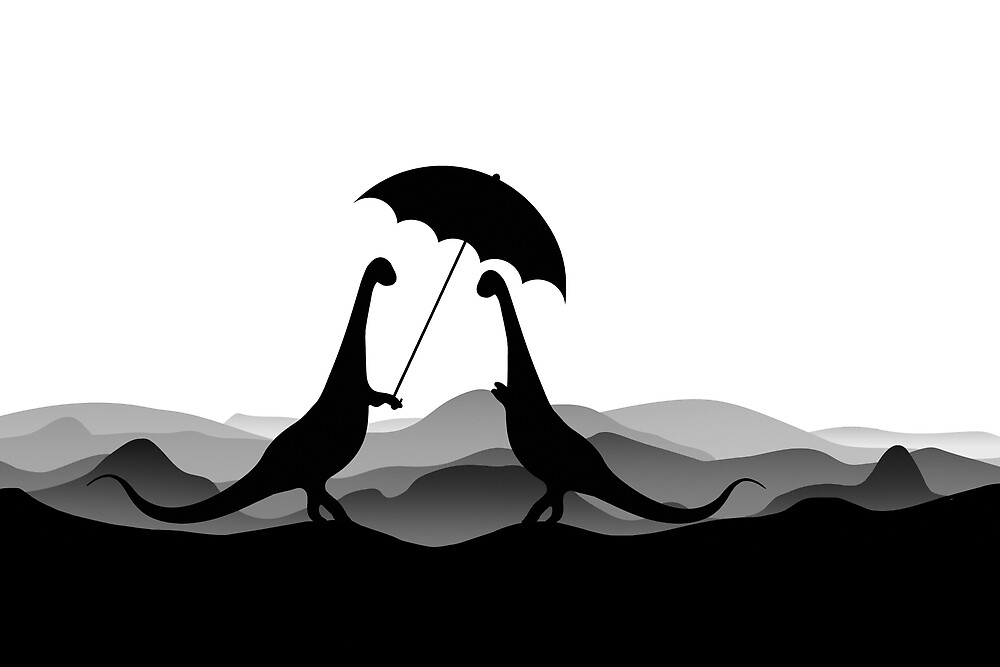 DINO LOVE UMBRELLA - Dinosaurs with Umbrella - Dino Collection by 11pixeli