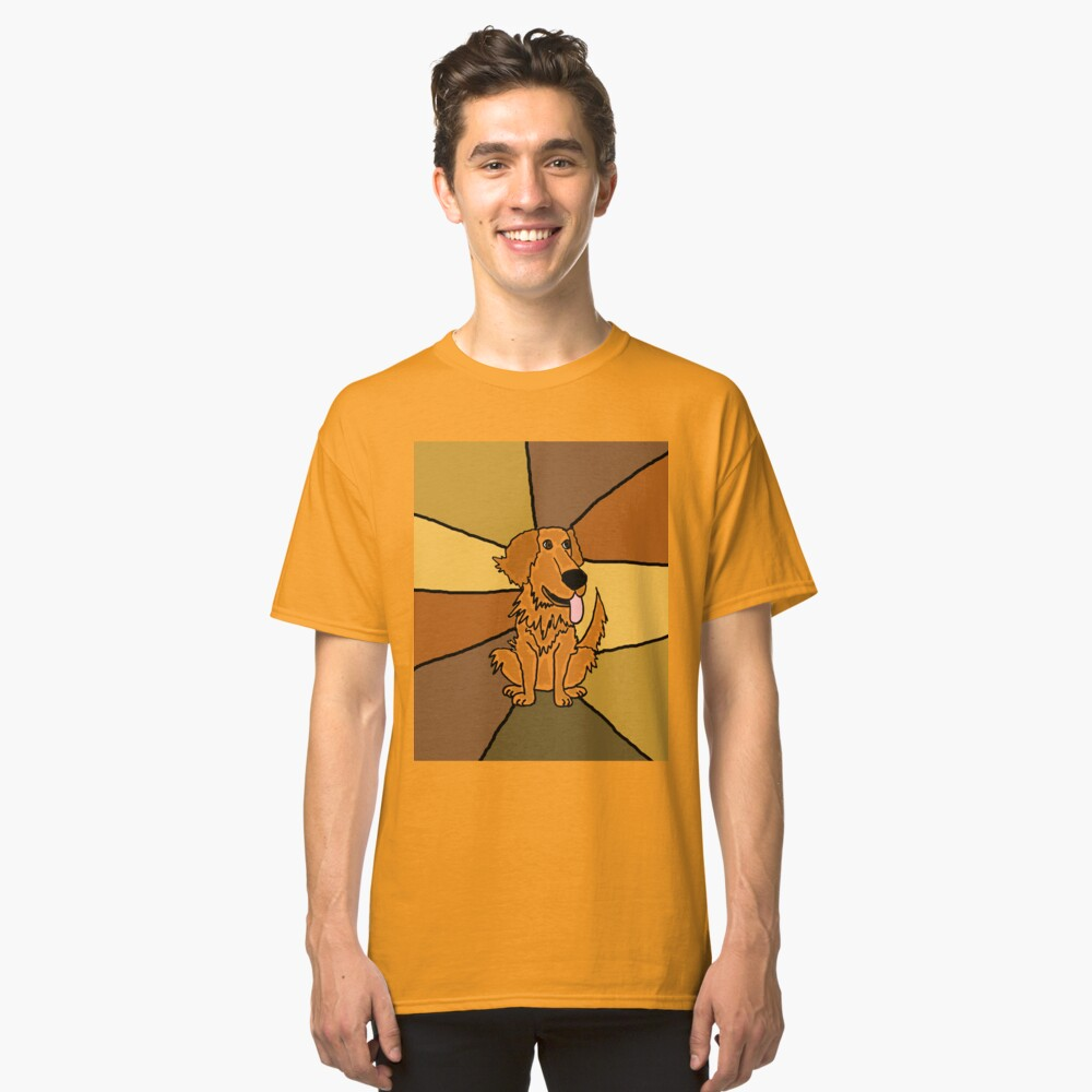Funny Golden Retriever Puppy Abstract Classic T-Shirt Front