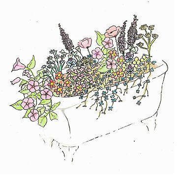 Wildflower Tub 'Anita's Flowers' by doonesdoodles