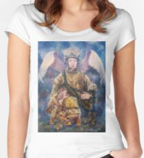 Fallen Soldier Angel Print Women's Fitted Scoop T-Shirt