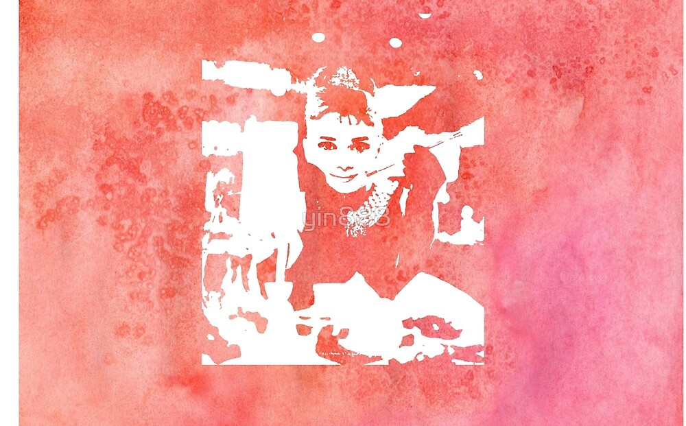Audrey Hepburn Iconic Breakfast at Tiffany's Watercolour Red    by yin888