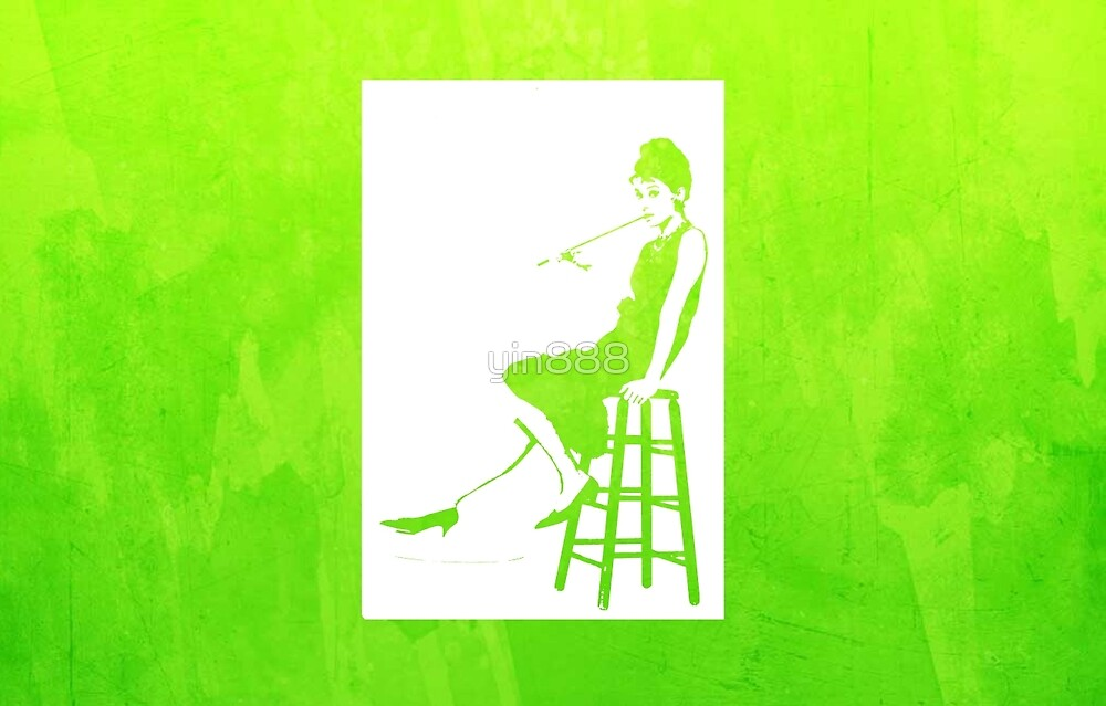 Audrey Hepburn Breakfast at Tiffany's Watercolour Sitting On Chair Green    by yin888