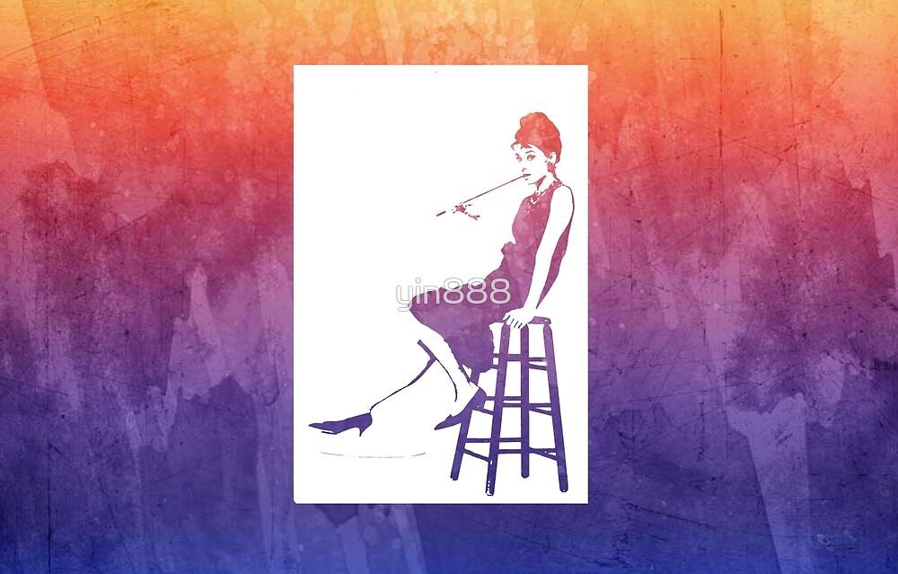 Audrey Hepburn Breakfast at Tiffany's Watercolour Sitting On Chair Purple    by yin888