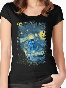 British Blue phone box painting Women's Fitted Scoop T-Shirt