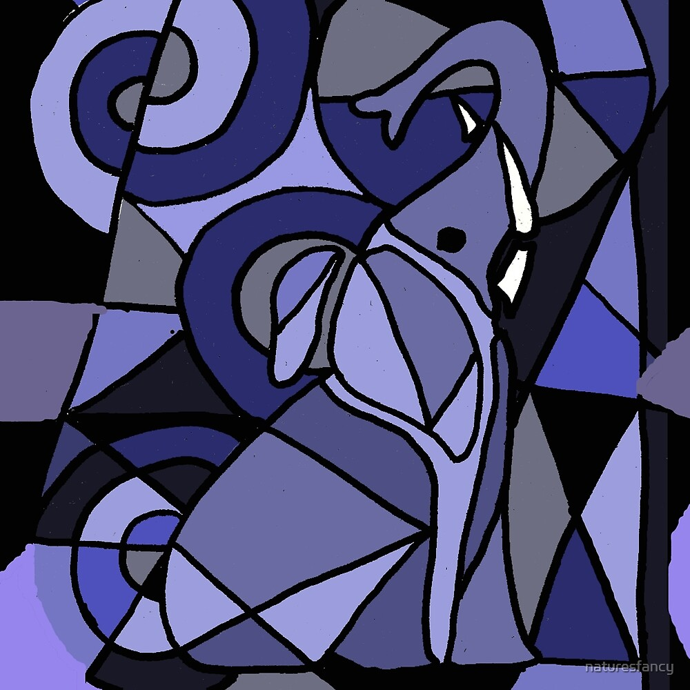 Blue Elephant Art Abstract Original by naturesfancy