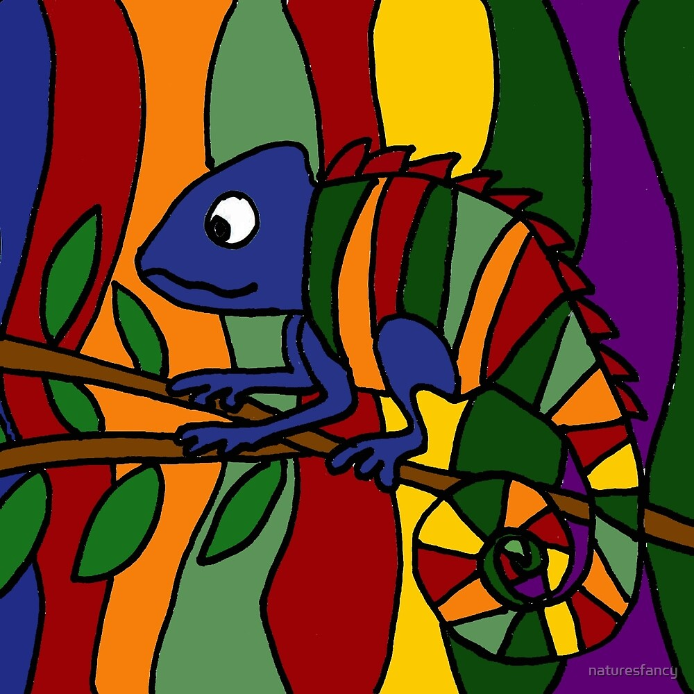 Colorful Abstract Art Chameleon Original by naturesfancy