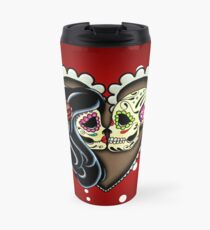 Ashes - Day of the Dead Couple - Sugar Skull Lovers Travel Mug