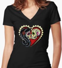 Ashes - Day of the Dead Couple - Sugar Skull Lovers Women's Fitted V-Neck T-Shirt