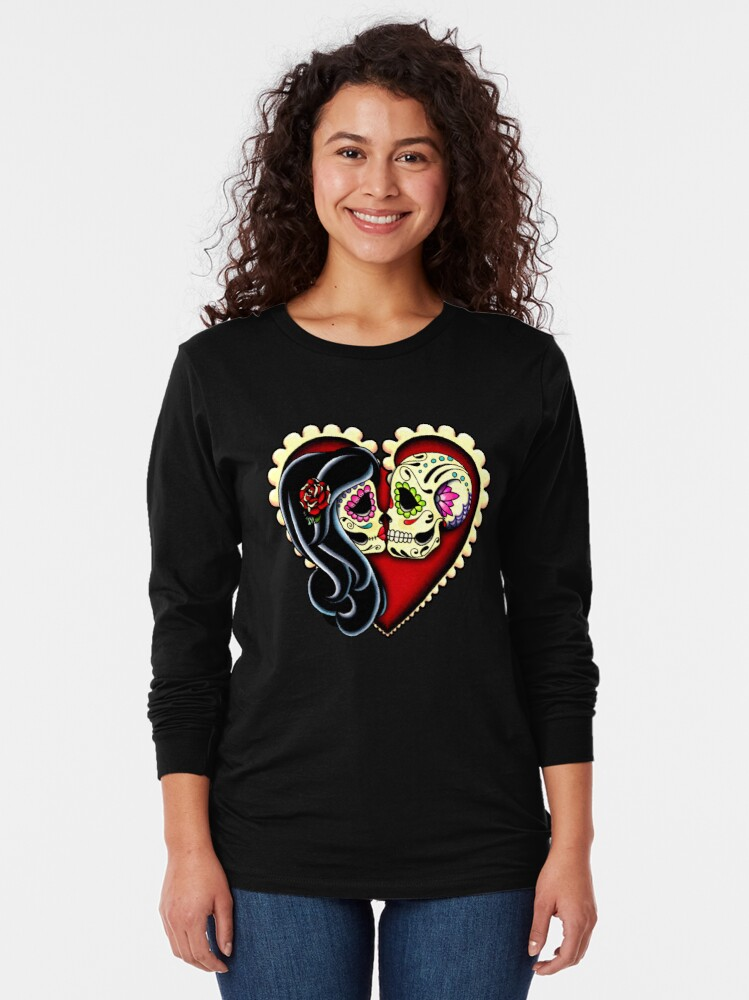 Alternate view of Ashes - Day of the Dead Couple - Sugar Skull Lovers Long Sleeve T-Shirt