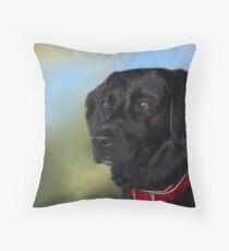 Black Lab - Dog Portrait Throw Pillow