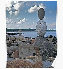 Rock Sculptures Facing Narragansett Beach  Poster
